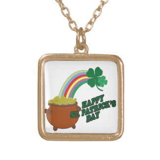 Happy Patrick s Day Gold Plated Necklace