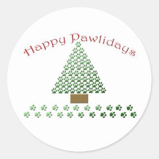 happy pawlidays copy1 classic round sticker