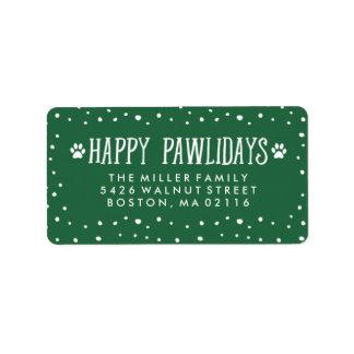 Happy Pawlidays   Green Holiday Address Label