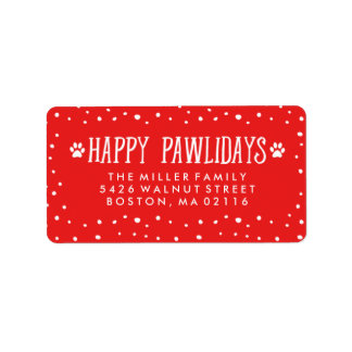 Happy Pawlidays | Red Holiday Address Label