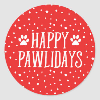 Happy Pawlidays | Red Holiday Classic Round Sticker