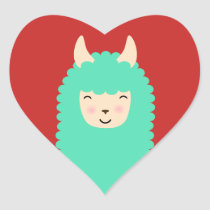Happy Peekaboo Llama Heart Stickers