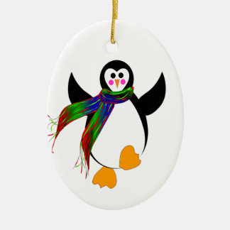 Happy Penguin Double-Sided Oval Ceramic Christmas Ornament