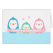 Happy Penguin Family Baby Shower Thank You Cards