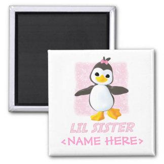 Happy Penguin Little Sister 2 Inch Square Magnet