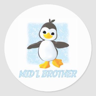 Happy Penguin Middle Brother Classic Round Sticker