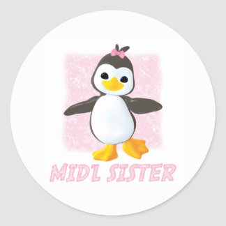 Happy Penguin Middle Sister Classic Round Sticker