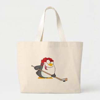 Happy Penguin Playing Ice Hockey Canvas Bag