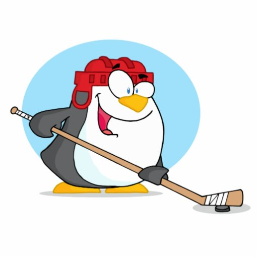 Happy-Penguin-Playing-Ice-Hockey Cut Outs