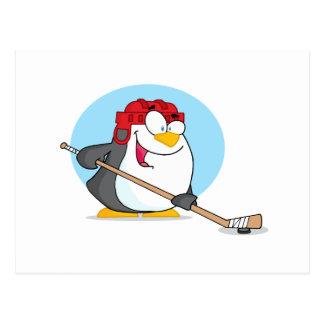 Happy-Penguin-Playing-Ice-Hockey Postcard
