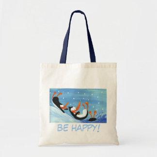 Happy penguins budget tote bag