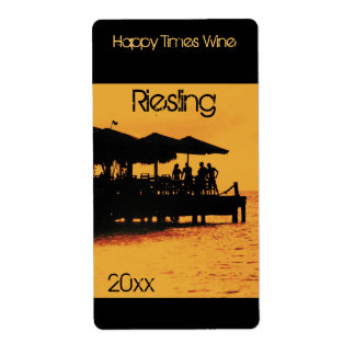 happy people at sunset wine bottle label shipping label
