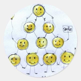 happy people classic round sticker