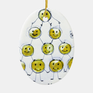 happy people Double-Sided oval ceramic christmas ornament