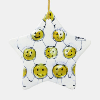 happy people Double-Sided star ceramic christmas ornament