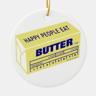 Happy People Eat Butter (Blue) Double-Sided Ceramic Round Christmas Ornament
