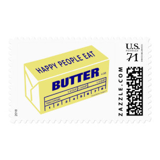 Happy People Eat Butter (Blue) Postage