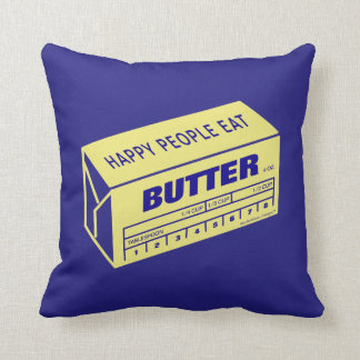 Happy People Eat Butter (Blue) Throw Pillow