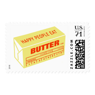 Happy People Eat Butter (Red) Postage