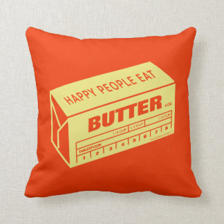 Happy People Eat Butter (Red) Throw Pillow