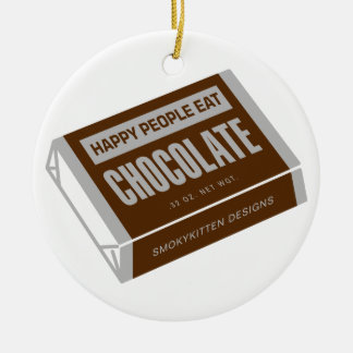 Happy People Eat Chocolate Double-Sided Ceramic Round Christmas Ornament
