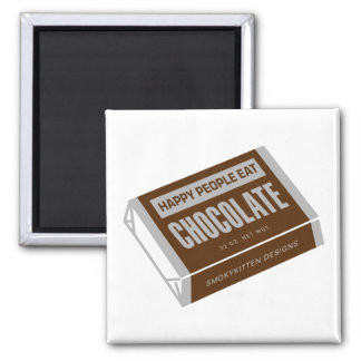 Happy People Eat Chocolate 2 Inch Square Magnet