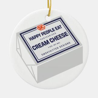 Happy People Eat Cream Cheese Ceramic Ornament