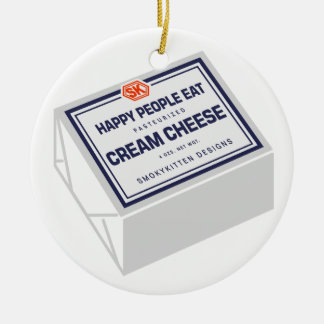 Happy People Eat Cream Cheese Double-Sided Ceramic Round Christmas Ornament