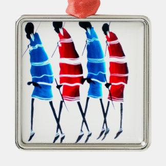 Happy People Masai Morans.png Square Metal Christmas Ornament