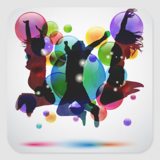 Happy People Square Sticker
