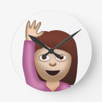 Happy Person Raising One Hand Emoji Round Clock