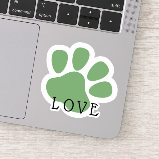 Happy Pet Paw Love Green Sticker