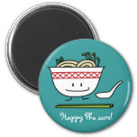 Happy Pho Noodle Bowl 2 Inch Round Magnet