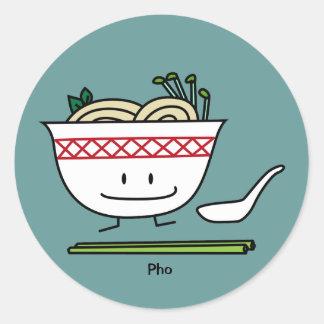 Happy Pho Noodle Bowl Classic Round Sticker