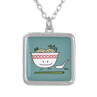 Happy Pho Noodle Bowl Silver Plated Necklace