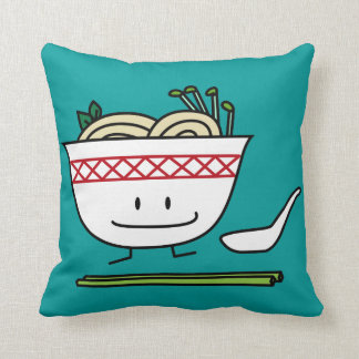 Happy Pho Noodle Bowl Throw Pillow