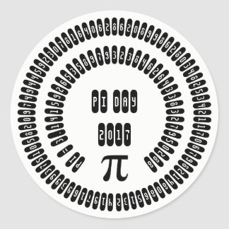 Happy Pi Day 2017 Math Digits 3.14 Mathematics Classic Round Sticker