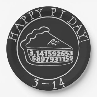 Happy Pi Day Chalkboard Pie Paper Plates at Zazzle