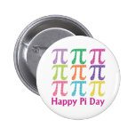 Happy Pi Day Colorful Tiles.png Pinback Button