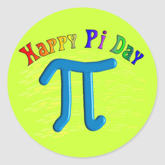 Happy Pi Day Gifts, Unique Embossed Design Classic Round Sticker