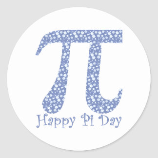 Happy Pi Day Little Blue and White Flowers Classic Round Sticker