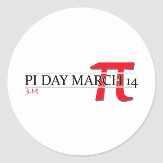 Happy Pi Day March 14 Classic Round Sticker