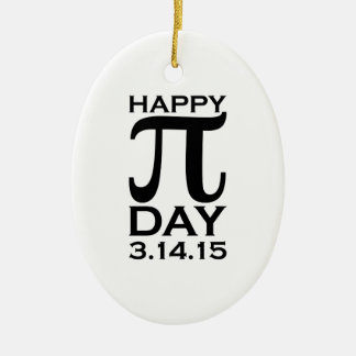 Happy Pi Day Double-Sided Oval Ceramic Christmas Ornament