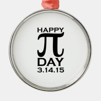 Happy Pi Day Round Metal Christmas Ornament