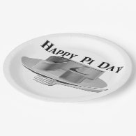 Happy Pi Day - Pi on a Silver Platter 9 Inch Paper Plate