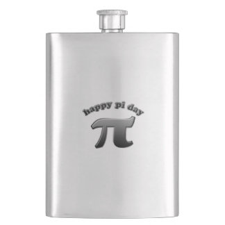 Happy Pi Day Pi Symbol for Math Nerds on March 14 Hip Flask