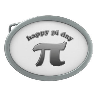 Happy Pi Day Pi Symbol for Math Nerds on March 14 Oval Belt Buckle