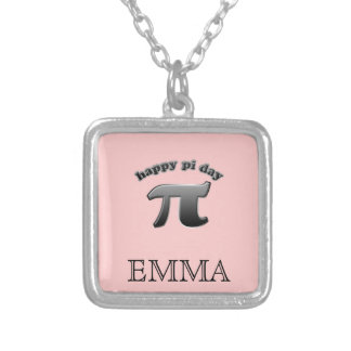 Happy Pi Day Pi Symbol for Math Nerds on March 14 Silver Plated Necklace