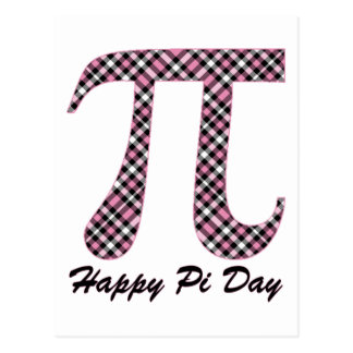 Happy Pi Day Pink and Black Plaid Postcard