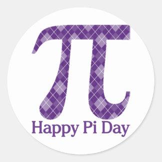 Happy Pi Day Purple Argyle Classic Round Sticker